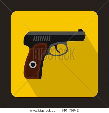 Pistol military weapon icon in flat style with long shadow