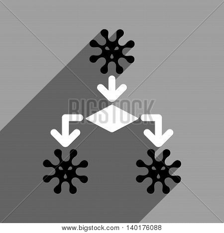 Virus Reproduction long shadow vector icon. Style is a flat virus reproduction black and white iconic symbol on a gray square background.