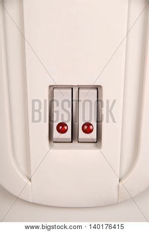 Toggle switch with red LED on the electric radiator