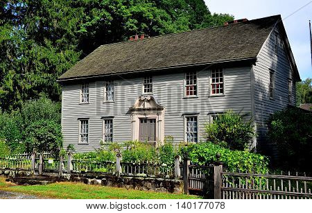 Stockbridge Massachusetts - September 16 2014: 1742 Mission House built by Rev. John Sergeant a minister who came to convert the Mohican Indians to Christianity *