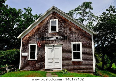 East Sandwich Massachusetts - July 15 2015: The 1889 East Sandwich Grange Hall at the Benjamin Nye Homestead and Museum on Cape Cod *