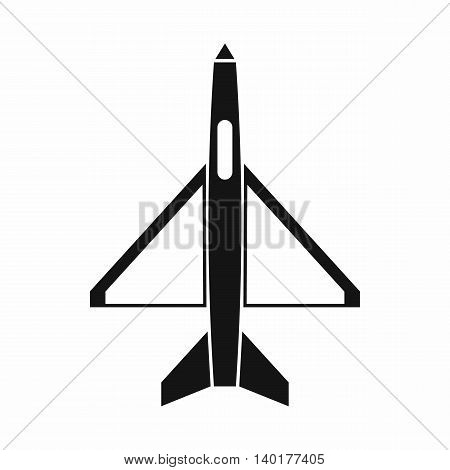 Military aircraft icon in simple style isolated on white background. Air transport symbol