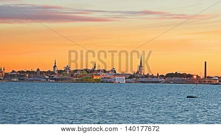Panoramic Sea view on sunset in Capital of Estonia.
