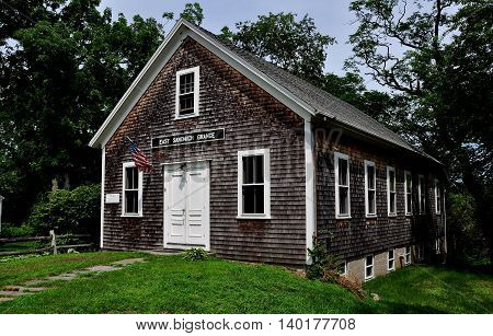 East Sandwich Massachusetts - July 15 2015: The 1889 East Sandwich Grange Hall at the Benjamin Nye Homestead and Museum on Cape Cod