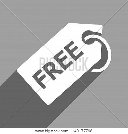 Free Tag long shadow vector icon. Style is a flat free tag white iconic symbol on a gray square background.