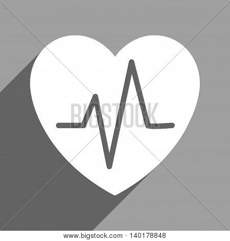 Heart Ekg long shadow vector icon. Style is a flat heart ekg white iconic symbol on a gray square background.
