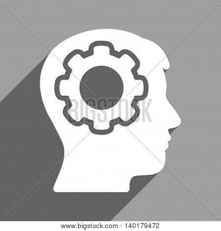 Human Mind long shadow vector icon. Style is a flat human mind white iconic symbol on a gray square background.