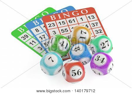 Bingo concept lottery balls and cards. 3D rendering isolated on black background