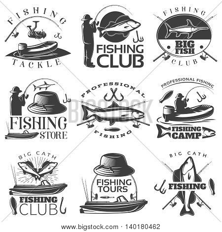 Fishing black emblem set with fishing tackle fishing club fishing store descriptions vector illustration