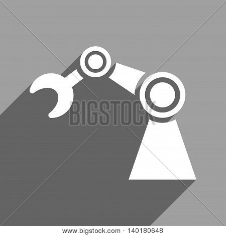 Manipulator long shadow vector icon. Style is a flat manipulator white iconic symbol on a gray square background.