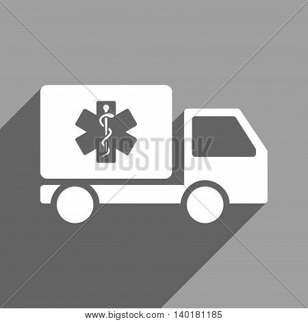 Medical Shipment long shadow vector icon. Style is a flat medical shipment white iconic symbol on a gray square background.