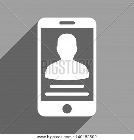 Patient Mobile Account long shadow vector icon. Style is a flat patient mobile account white iconic symbol on a gray square background.