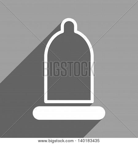 Preservative long shadow vector icon. Style is a flat preservative white iconic symbol on a gray square background.