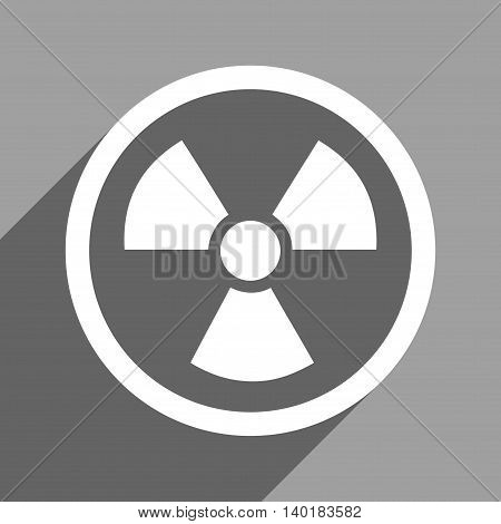 Radiation Danger long shadow vector icon. Style is a flat radiation danger white iconic symbol on a gray square background.