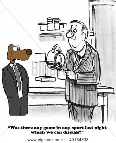 Business cartoon about chit chat with a coworker on coffee break. poster