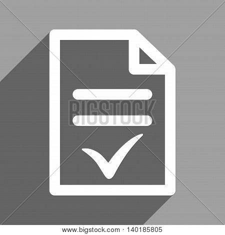 Valid Document long shadow vector icon. Style is a flat valid document white iconic symbol on a gray square background.