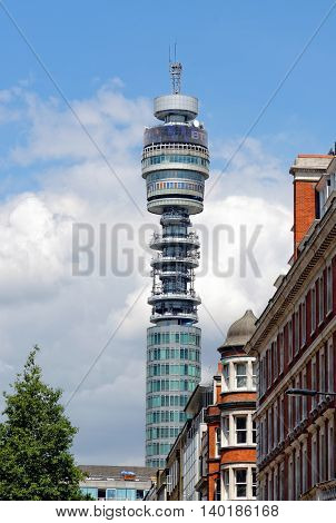 LONDON - JULY 1 2014: BT London Telecom Tower in London UK . The tower is a popular landmark with revolving restaurant near the top giving panoramic views of the area.