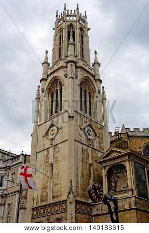 The Guild Church of St Dunstan-in-the-West on Fleet Street in the City of London England. It is dedicated to a former Bishop of London and Archbishop of Canterbury.