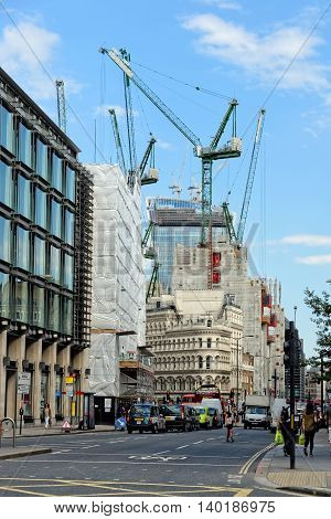 LONDON UK - JULY 1 2014: Many new developments under construction in the City of London one of the leading centers of global finance.