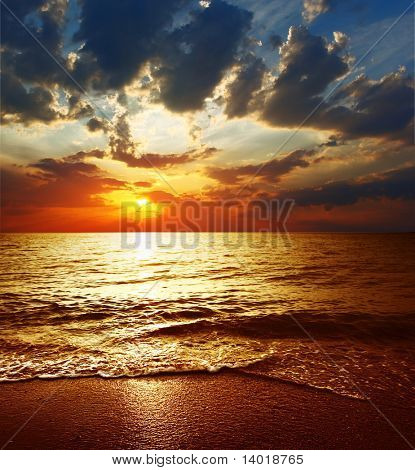 Cloudy sunset over sea