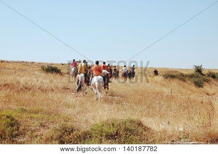 Tourists riding in Murgia near Matera in Basilicata - Italy