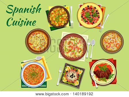 Mediterranean spanish cuisine with andalusian seafood paella and bean soup fabada, shrimp and squid noodles, sausage and bean soup, potato salad and beefsteak, baked vegetables with ham and tuna salad