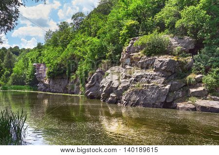 Picturesque view on Buky Canyon Cherkasy region Ukraine