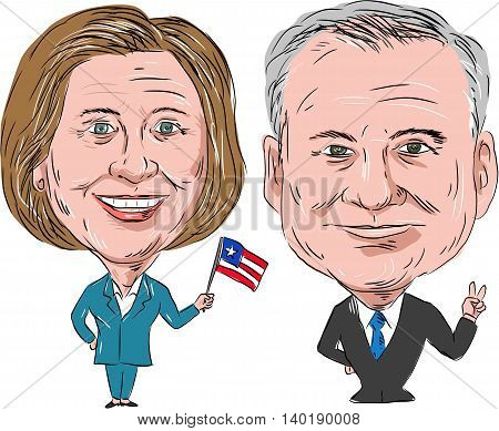 July 27, 2016: Caricature illustration of Democratic Party candidates Hillary Clinton and Tim Kaine for the US Elections 2016 on isolated background.