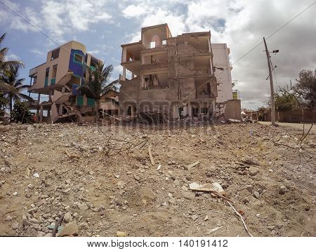 Houses Destroyed By The Massive Earthquake That Shook Ecuador South America In April 16Th 2016