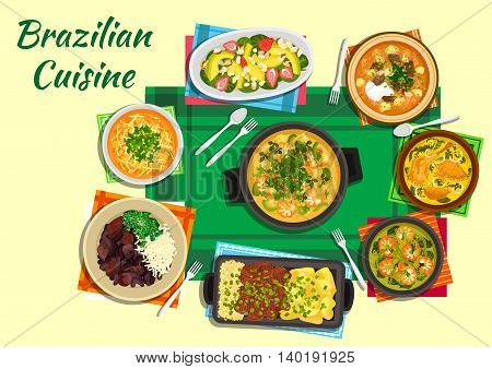 Traditional brazilian seafood and black bean stews flat icon served with tomato beef and spicy lentil soups, thick shrimp and duck soups with tucupi broth, grilled meat with yuca fries and rice and fruit salad with nuts