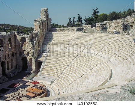 The Odeon Of Herodes Atticus Is A Stone Theatre Structure Located On The Southwest Slope Of The Acropolis Of Athens