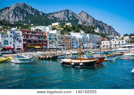 CAPRI ITALY - JULY 11 2016: Marina Grande on the Island of Capri Italy