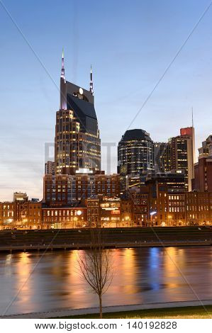 View of buildings in downtown Nashville Tennessee at sunset