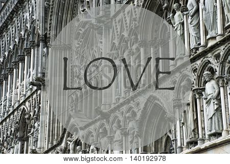 Church Of Trondheim In Norway. Macro Or Close Up Of Sculptures Or Statue. Religious Greeting Card. English Text Love