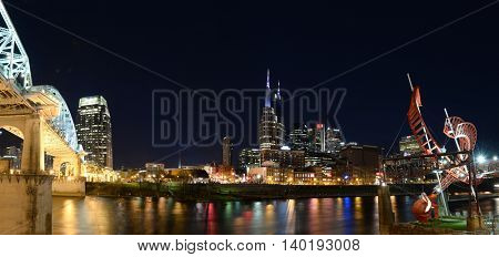 View of downtown Nashville Tennessee at night - Stitched from several images