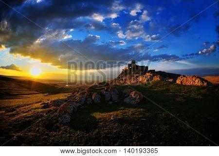 Enisala fortress at sunset, Dobrogea, Romania