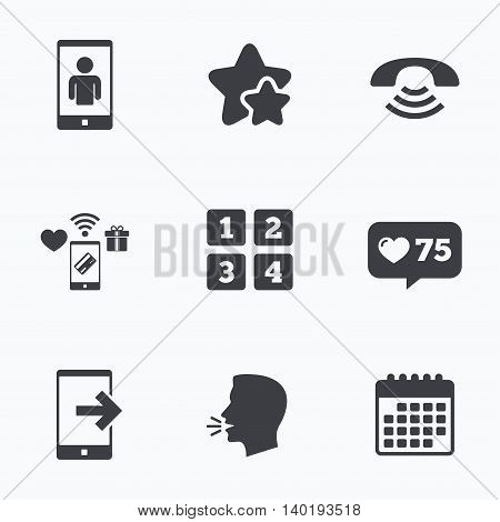Phone icons. Smartphone video call sign. Call center support symbol. Cellphone keyboard symbol. Flat talking head, calendar icons. Stars, like counter icons. Vector