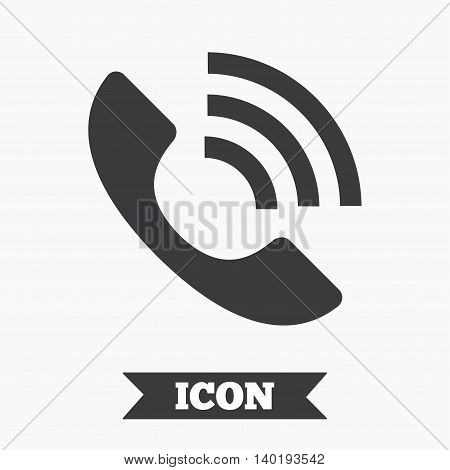Phone sign icon. Support symbol. Call center. Graphic design element. Flat call center symbol on white background. Vector