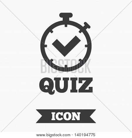 Quiz timer sign icon. Questions and answers game symbol. Graphic design element. Flat quiz timer symbol on white background. Vector