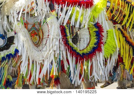 Close up of colorful headdresses shown at the Julyamsh Powwow in Coeur d'Alene Idaho.