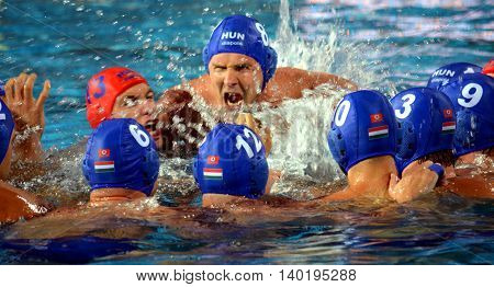 Budapest Hungary - Jul 14 2014. Hungarian team shout their battle-cry at the start. The Waterpolo European Championship was held in Alfred Hajos Swimming Centre in 2014.