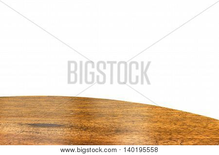 Empty Wood Round Table Top Isolate On White Background, Leave Space For Placement You Background,tem