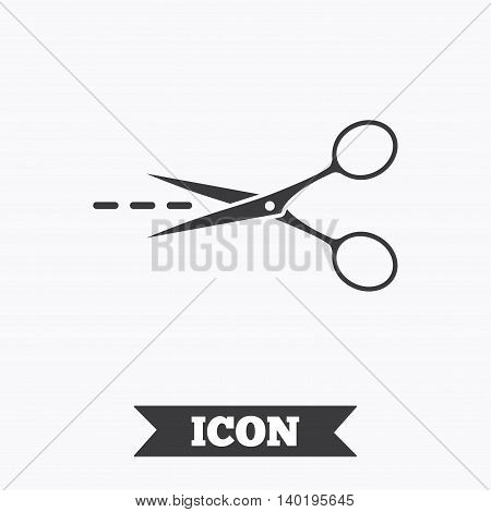 Scissors with cut dash dotted line sign icon. Tailor symbol. Graphic design element. Flat tailor scissors symbol on white background. Vector