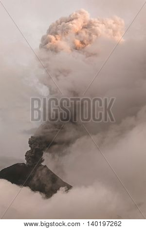 Pyroclastic Powerful Explosion Over Tungurahua Ecuador, South America