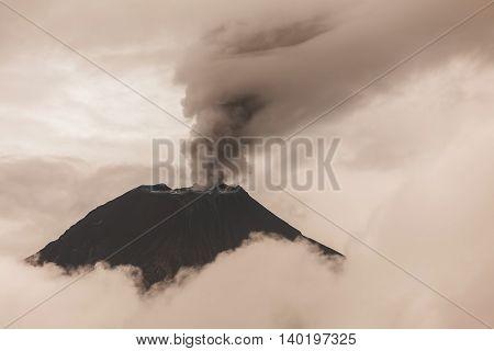 Aerial View Of Tungurahua Volcano Spews Molten Rocks And Column Of Gas And Ash Ecuador