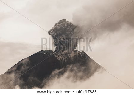Tungurahua Volcano Intense Strombolian Activity Ecuador South America