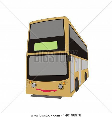 Illustration Cartoon Double Decker Bus In Hong Kong City Route Isolated On  White Background