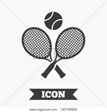 Tennis rackets with ball sign icon. Sport symbol. Graphic design element. Flat tennis rackets symbol on white background. Vector