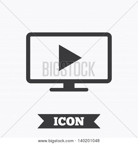 Widescreen TV mode sign icon. Television set symbol. Graphic design element. Flat tV mode symbol on white background. Vector