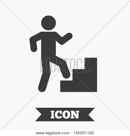 Upstairs icon. Human walking on ladder sign. Graphic design element. Flat upstairs symbol on white background. Vector